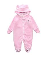 Недорогие -малыш Девочки Классический Однотонный Длинный рукав Полиэстер 1 предмет Розовый 59 / Дети (1-4 лет)
