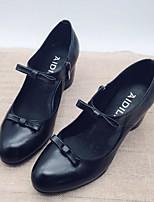 Недорогие -Жен. Наппа Leather Осень Обувь на каблуках На толстом каблуке Черный / Верблюжий