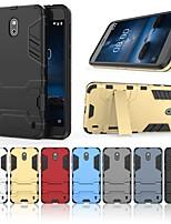 Недорогие -Кейс для Назначение Nokia Nokia 2.1 Защита от удара / со стендом Кейс на заднюю панель Однотонный / броня Твердый ПК для Nokia 2