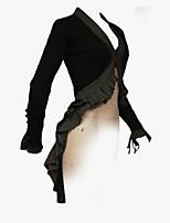 Недорогие -Жен. Для вечеринок Классический Длинная Тренч, Однотонный Лацкан с тупым углом Длинный рукав Полиэстер Черный / Хаки L / XL / XXL