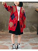 Недорогие -Дети Девочки Классический Повседневные Однотонный Длинный рукав Обычная Хлопок / Полиэстер Куртка / пальто Красный 110