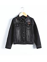 Недорогие -Дети (1-4 лет) Девочки Активный Однотонный Длинный рукав Обычная Полиэстер Куртка / пальто Черный 110