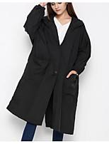 Недорогие -длинное длинное пальто женщин - сплошной цвет с капюшоном