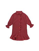 Недорогие -Дети Девочки Классический Однотонный Длинный рукав Выше колена Платье Красный 140
