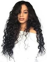 Недорогие -человеческие волосы Remy Необработанные натуральные волосы 6x13 Тип замка Лента спереди Парик Бразильские волосы Волнистый Свободные волны Парик Ассиметричная стрижка Глубокое разделение Боковая часть
