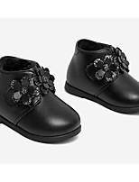 Недорогие -Девочки Обувь Синтетика Зима Обувь для малышей / Детская праздничная обувь Ботинки Цветы из сатина для Дети (1-4 лет) Черный / Красный