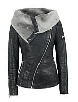 Недорогие -Жен. Повседневные Уличный стиль Обычная Кожаные куртки, Однотонный Отложной Длинный рукав Полиэстер Черный XL / XXL / XXXL