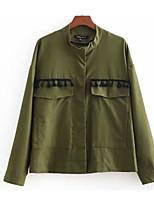 Недорогие -Жен. Повседневные Классический Короткая Куртка, Однотонный Отложной Длинный рукав Полиэстер Военно-зеленный S / M / L