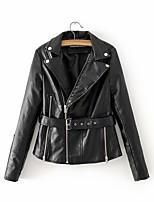 Недорогие -Жен. Повседневные Классический Обычная Кожаные куртки, Однотонный Лацкан с тупым углом Длинный рукав Полиуретановая Черный / Розовый M / L / XL / Тонкие
