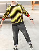 Недорогие -Дети Мальчики Классический Повседневные Полоски Длинный рукав Обычный Обычная Хлопок / Полиэстер Набор одежды Коричневый 140