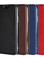baratos -Capinha Para Apple iPhone 8 Plus / iPhone XS / iPhone XR Carteira / Antichoque / Com Suporte Capa Proteção Completa Sólido Rígida couro legítimo para iPhone XS / iPhone XR / iPhone XS Max