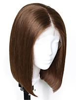 Недорогие -Не подвергавшиеся окрашиванию человеческие волосы Remy Лента спереди Парик Бразильские волосы Естественный прямой Шелковисто-прямые Темно-коричневый Парик Стрижка боб Стрижка каскад 150