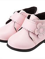 Недорогие -Девочки Обувь Синтетика Зима Модная обувь Ботинки Цветы для Дети (1-4 лет) Черный / Красный / Розовый