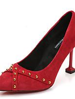Недорогие -Жен. Полиуретан Зима На каждый день Обувь на каблуках На каблуке-рюмочке Заклепки Черный / Красный