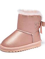 Недорогие -Девочки Обувь Синтетика Зима Зимние сапоги Ботинки Бант / На эластичной ленте для Черный / Розовый / Сапоги до середины икры
