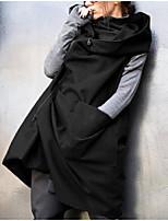 Недорогие -Жен. Повседневные Классический Длинная Плаща / накидки, Однотонный Капюшон Без рукавов Полиэстер Коричневый / Черный / Военно-зеленный XXXL / XXXXL / XXXXXL