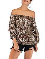 Недорогие -женская хлопковая блузка - цветочная / полосатая с плеча