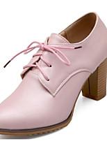 Недорогие -Жен. Полиуретан Весна Милая / Минимализм Обувь на каблуках На толстом каблуке Заостренный носок Ботинки Белый / Розовый / Светло-синий