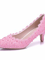 abordables -Femme Dentelle / Polyuréthane Printemps & Automne Doux Chaussures de mariage Kitten Heel Bout pointu Imitation Perle / Fleur en Satin Rose / Mariage