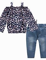 Недорогие -Дети Девочки Активный / Уличный стиль Повседневные / На выход Цветочный принт С принтом Длинный рукав Обычный Искусственный шёлк Набор одежды Темно синий