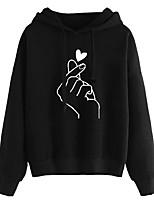 baratos -hoodie de manga longa feminina - coração / vinho com capuz de cor sólida s