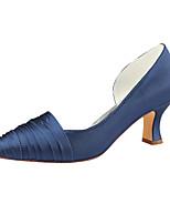 Недорогие -Жен. Сатин Лето Свадебная обувь На толстом каблуке Заостренный носок Темно-синий / Лиловый / Свадьба / Для вечеринки / ужина