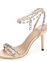 baratos -Mulheres Pele Verão Casual Sapatos De Casamento Salto Agulha Peep Toe Dourado