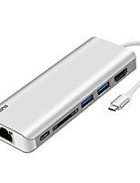 Недорогие -Cooho 6 USB-концентратор USB 3.0 Тип C HDMI 2.0 С чтения карт (ы) / Защита входа / OTG Центр данных