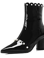 Недорогие -Жен. Наппа Leather Осень Ботинки На толстом каблуке Ботинки Черный