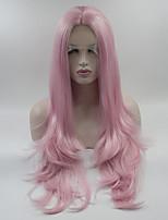 Недорогие -Синтетические кружевные передние парики Жен. Кудрявый Розовый Средняя часть 180% Человека Плотность волос Искусственные волосы 18-26 дюймовый Регулируется / Кружева / Жаропрочная Розовый Парик Длинные