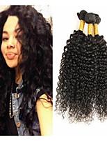 Недорогие -3 Связки Монгольские волосы Kinky Curly 8A Натуральные волосы Необработанные натуральные волосы Подарки Косплей Костюмы Головные уборы 8-28 дюймовый Естественный цвет Ткет человеческих волос