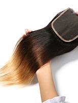 Недорогие -Laflare Перуанские волосы 4x4 Закрытие Прямой Бесплатный Часть / Средняя часть / 3 Часть Средняя часть Швейцарское кружево человеческие волосы Remy Жен. Мягкость / Лучшее качество / Новое поступление