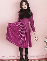 Недорогие -Дети Девочки Классический Однотонный Длинный рукав Платье Лиловый