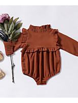Недорогие -малыш Девочки Активный Повседневные Однотонный Длинный рукав Полиэстер 1 предмет Коричневый