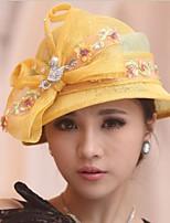 Недорогие -Чудесная миссис Мейзел Колпак шляпа шляпа Дамы Ретро Жен. Зеленый / Желтый Бант Конструкция САР Лён / Хлопок костюмы