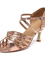 Недорогие -Жен. Обувь для латины Сатин На каблуках Кубинский каблук Персонализируемая Танцевальная обувь Золотой