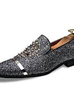 Недорогие -Муж. Официальная обувь Синтетика Весна & осень На каждый день / Английский Мокасины и Свитер Нескользкий Черный / Серебряный / Для вечеринки / ужина