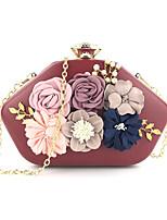Недорогие -Жен. Мешки PU Вечерняя сумочка Пуговицы / Цветы Цветочный принт Черный / Розовый / Винный