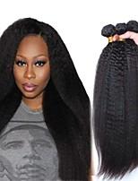 Недорогие -6 Связок Бразильские волосы Естественные прямые Не подвергавшиеся окрашиванию Подарки Головные уборы Человека ткет Волосы 8-28 дюймовый Естественный цвет Ткет человеческих волос