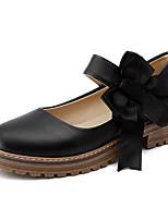 Недорогие -Жен. Полиуретан Весна Обувь на каблуках На низком каблуке Белый / Черный / Миндальный