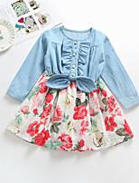 Недорогие -Дети Девочки Классический Повседневные Однотонный Длинный рукав Платье Цвет радуги