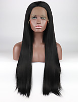 Недорогие -Синтетические кружевные передние парики Жен. Прямой Черный Свободная часть 180% Человека Плотность волос Искусственные волосы 18-26 дюймовый Регулируется / Жаропрочная / Эластичный Черный Парик
