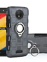 Недорогие -Кейс для Назначение Motorola C plus / C Защита от удара / Кольца-держатели Кейс на заднюю панель броня Твердый ПК для Moto C plus / Moto C