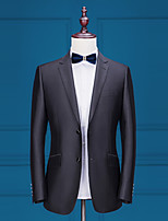 abordables -Couleur Pleine Coupe Sur-Mesure Polyester Costume - Cranté Droit 2 boutons