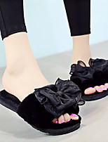 Недорогие -Женские тапочки Домашние тапки Однотонный Бархат Бант / Один цвет Обувь