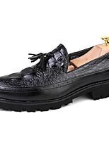 Недорогие -Муж. Официальная обувь Синтетика Весна & осень Деловые / Английский Мокасины и Свитер Нескользкий Черный / Коричневый / Винный