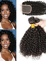 Недорогие -3 комплекта с закрытием Бразильские волосы Индийские волосы Kinky Curly Не подвергавшиеся окрашиванию Необработанные натуральные волосы Подарки Человека ткет Волосы Сувениры для чаепития 8-20 дюймовый