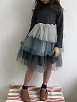 Недорогие -Дети Девочки Милая Контрастных цветов Длинный рукав Платье Коричневый