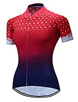 Недорогие -TELEYI Жен. С короткими рукавами Велокофты - Красный + синий Геометрический принт Велоспорт Джерси Дышащий Быстровысыхающий Виды спорта Полиэстер Горные велосипеды Шоссейные велосипеды Одежда