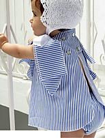 Недорогие -Дети (1-4 лет) Девочки Активный / Классический Повседневные / Пляж Синий и белый Полоски Оборки Без рукавов Обычная Хлопок Набор одежды Синий 100
